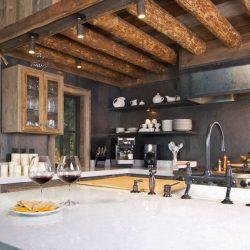 Luxurious Rustic Fully Equipped Log Cabin Kitchen.