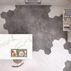 Scandinavian kitchen, with island, tiles and parquet floor, top view, contemporary interior design